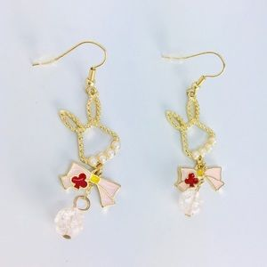 New! Rabbit Pearl Bow Knot Beaded Earrings Gold